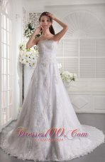 Princess Lace Beaded Chapel Wedding Dress Bridal
