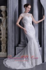 High Neck Mermaid Beaded Brush Bridal Dress