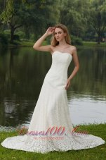 Sweetheart Lace Court Train Wedding Bridal Gowns
