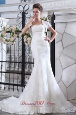 Mermaid Lace Court Train Sash Wedding Gowns