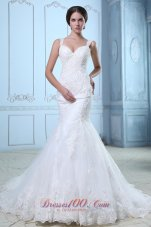 Organza Mermaid Court Train Bridal Wedidng Gown