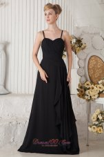 Black Empire Straps Dress for Maid of Honor Ruffles