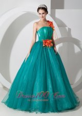 Sweet 16 Dress Hand Made Flower One Shouder Ruch Bodice
