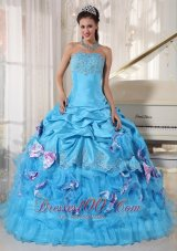Aqua Quinceanera Dress Pick-ups Hand Made Flower Decorate