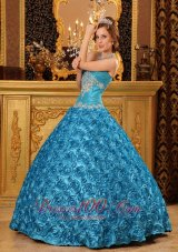Rolling Flower Sky Blue Appliques Sweetheart Quinceanera Gown