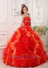 Pretty Quinceanera Dress Orange Organza Beading