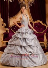 Multi-tiered Gray Quinceanera Dress Taffeta Halter