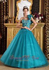 Quinceanera Dress Hand Made Flower One Shoulder Teal A-line