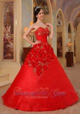 Dress for Quince Sweetheart Hand Made Flower Decorate A-line