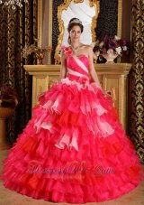 Red Pink Color Quinceanera Dress Layer One Shoulder