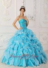 Ruffles Sky Blue Quinceanera Dress Floor Length