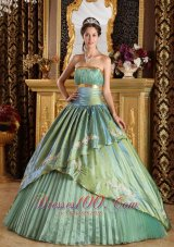 Lemon Green Strapless Ruch Princesita Quinceanera Dress