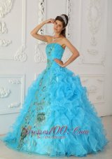 Strapless Aqua Blue Quinceanera Dress Embroidery