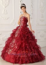 Wine Red Quinceanera Gowns Dresses Embroidery