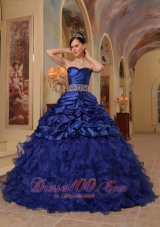 Navy Blue Quinceanera Dress Ruffle A-line Beading