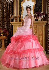 Pink and Red Quinceanera Dress Pick-ups Strapless
