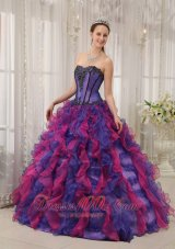 Multi-colored Quinceanera Dress Sweetheart Boning