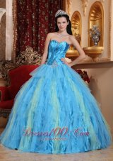 Aqua Blue Quinceanera Dress Sweetheart Ruffles
