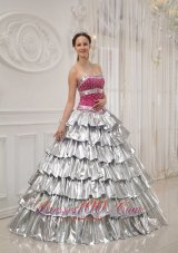 Quinceanera Dress Strapless Satin and Taffeta Beading