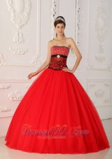 Sweet 16 Dress Strapless Black and Hot Pink A-line Floor-length