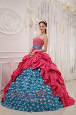 Red and Blue Sweet 15 Dress Pick-ups Rolling Flower