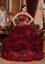 Burgundy Quinceanera Dress Strapless Ball Gown