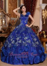 V-neck Satin Beading and Appliques Blue Quinceanera Dress