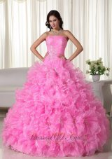 Strapless Beading Floral Ball Gown Sweet 15 Dress