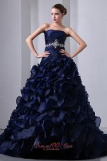 Navy A-line/Princess Beading and Floral Quinceanera Dress