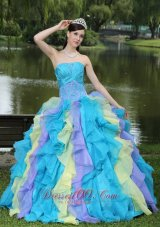 Colorful Ruffles Strapless Sweet 15 Dress