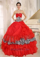 Sweetheart Red and Zebra Multi-tierd Ball Gown Quinceanera Dress