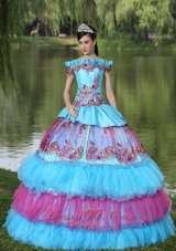 Unique Off the Shoulder Appliques Ball Gown Quinceanera Multi-color