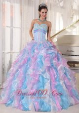 Boning Multi-color Quinceanera Dress Ruffles Floor-length