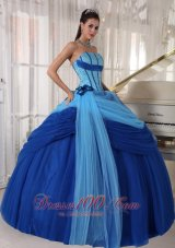 Baby and Navy Blue Quinceanera Dress Hand Made Flower
