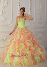 Multi-color Hand Made Flower A-line Sweet 16 Dress
