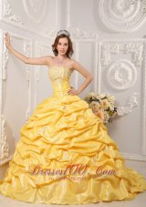 2011 Pick-ups Yellow Sweet 15 Dress Sweep Train Beading