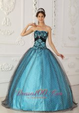 Black and Blue Appliques Boning Strapless Quinceanera Dress