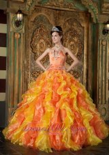 Orange and Yellow Beading Layer Quinceanera Dress 2014