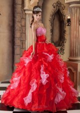 Strapless Ball Gown Puffy Pink and Red Ball Gown for Quinceanera