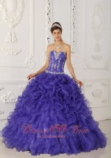 Blue Boning and Beading Sweetheart Ball Puffy Quinceanera Dress