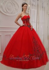 Quinceanera Dress Sweetheart Boning and Embroidery Ball Gown A-line