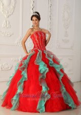 2013Strapless Embroidery Ball Gown Red and Green for Quinceanera