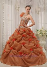Rust Red Quinceanera Dress One Shoulder Handmade Flower Pick-ups