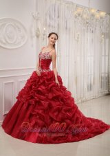 Wine Red Quinceanera Dress Sweep Train Pick-ups straps