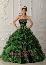 Newest Sweetheart A-line Sweet Green Quinceanera Dress Strapless