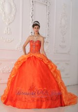 Orange Red Quinceanera Dress Beading Brush Train Sweetheart