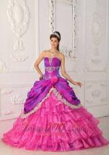 Hot Pink and Purple Quinceanera Dress Multi-tierd Quinceanera Dress