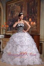 White and Zebra Quinceanera Dress Turn Heads Sweet 15 Dress