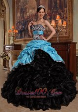 Aqua Blue and Black Quinceanera Dress Zebra Print Sash