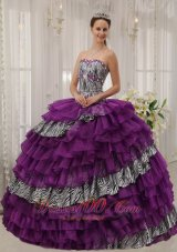 Eggplant Purple Quinceanera Dress Zebra Print Fabric